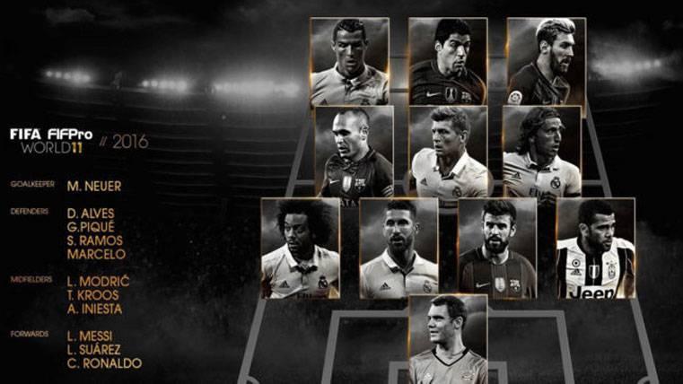 Cuatro jugadores del FC Barcelona en el Once Ideal de la FIFA