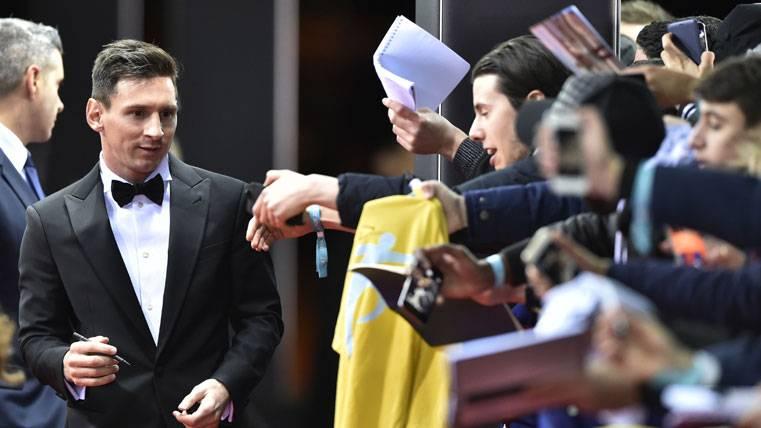 Leo Messi, durante la gala del Balón de Oro 2015