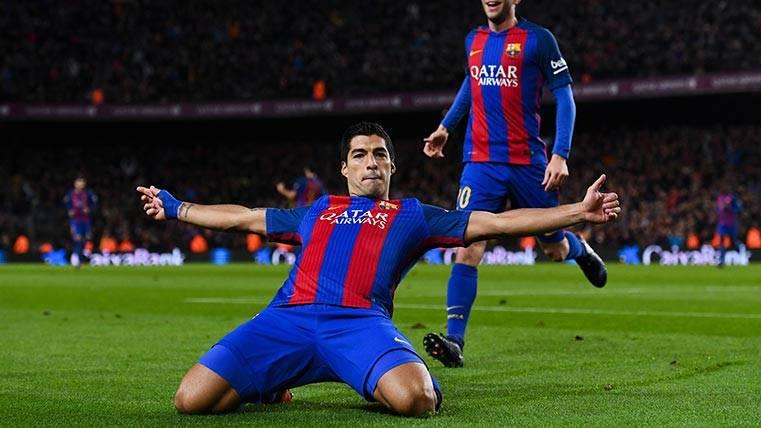 Luis Suárez celebra su gol en el Barça-Athletic