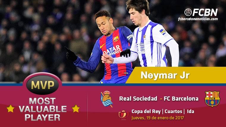 """Neymar Júnior, el """"MVP"""" del FC Barcelona ante la Real Sociedad"""