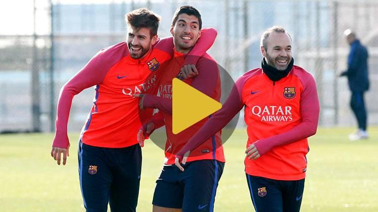 El Barça felicita a Luis Suárez con sus mejores goles en entrenos