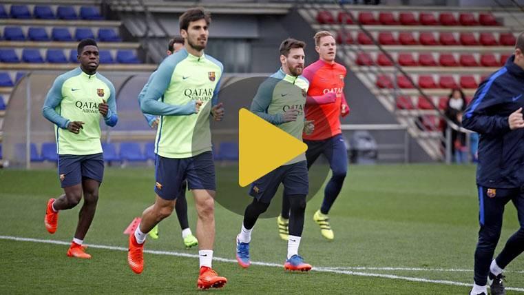 El Barça se entrenó antes de las semis con la sorpresa de Piqué