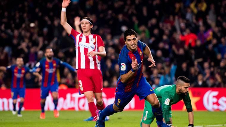 Luis Suárez celebra el gol del FC Barcelona frente al Atlético de Madrid