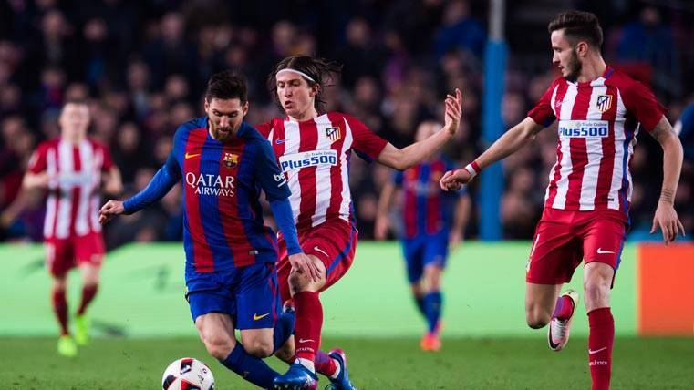 """Filipe Luis, """"cazando"""" a Messi en el FC Barcelona-Atlético"""