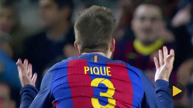 Piqué levantó a la hinchada tras la expulsión de Carrasco