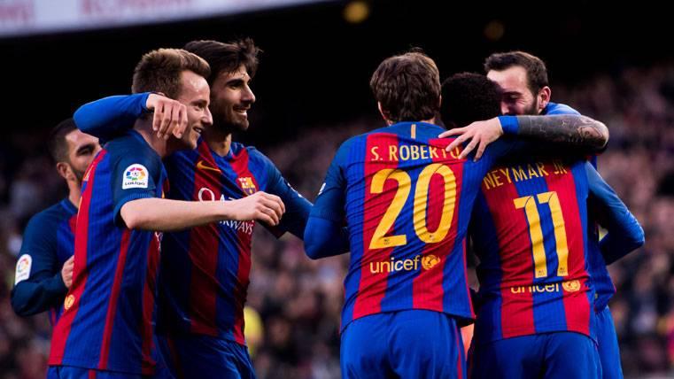 El FC Barcelona, celebrando un gol esta temporada en el Camp Nou