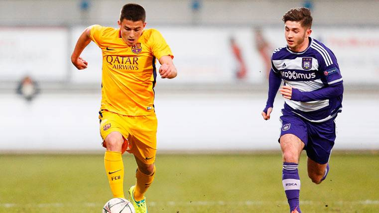 Sergio Palencia, en un partido con el juvenil del FC Barcelona