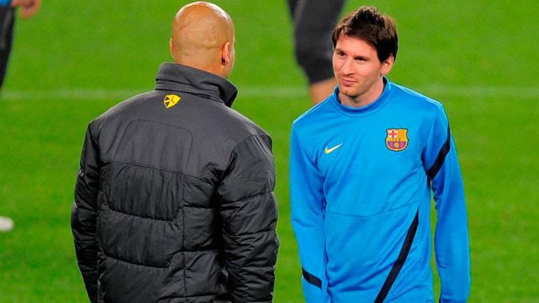 Pep Guardiola y Leo Messi, en una imagen de archivo