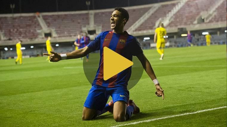 """Estratosférico gol de Jordi Mboula """"a lo Messi"""" para el Barça"""