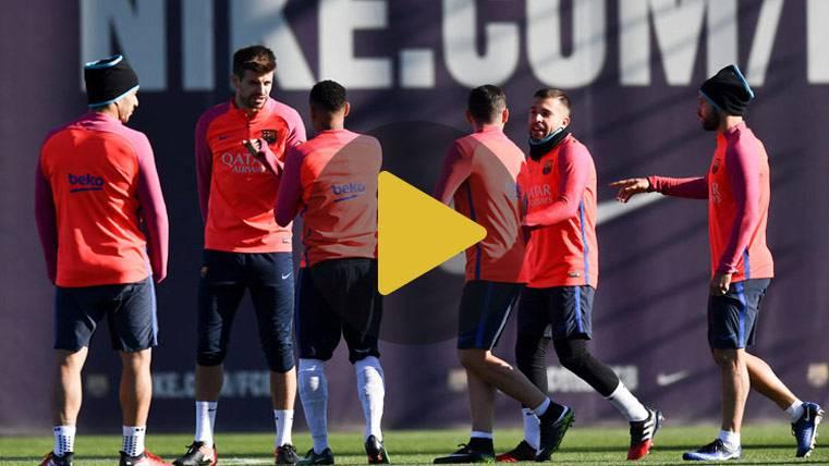 Sólo dos bajas en el penúltimo entreno previo al Atlético-Barça