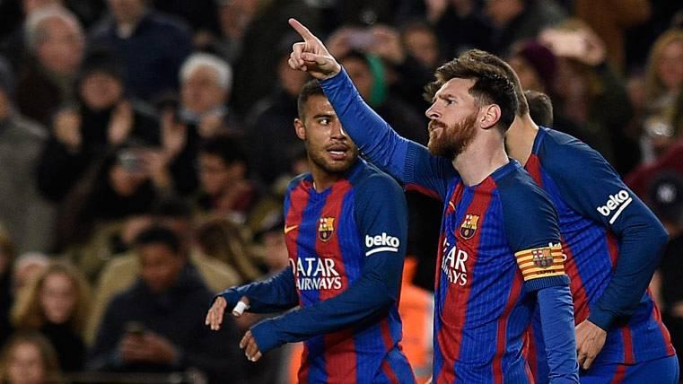 Leo Messi, celebrando el gol marcado en el Camp Nou