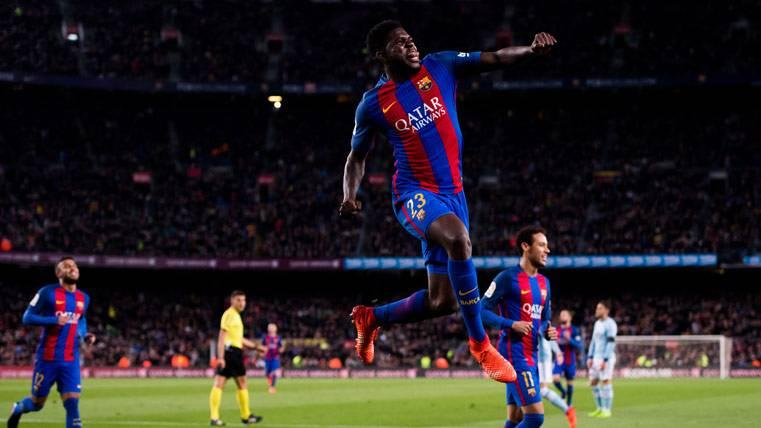 Umtiti se estrenó a nivel goleador tras un regalo de Messi