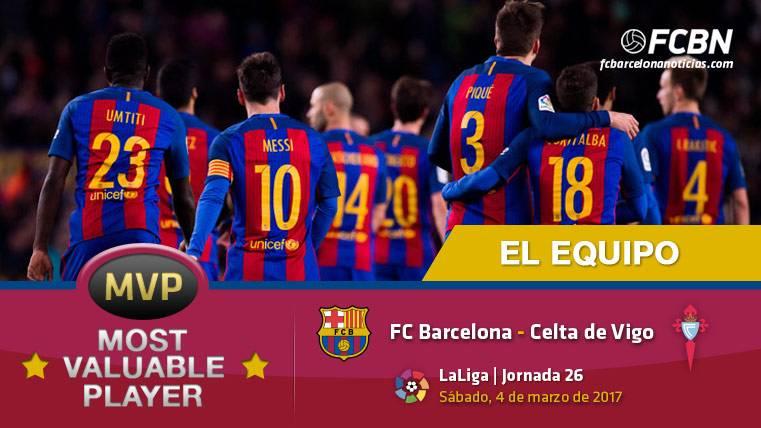 """El equipo entero, """"MVP"""" frente al Celta en el Camp Nou"""