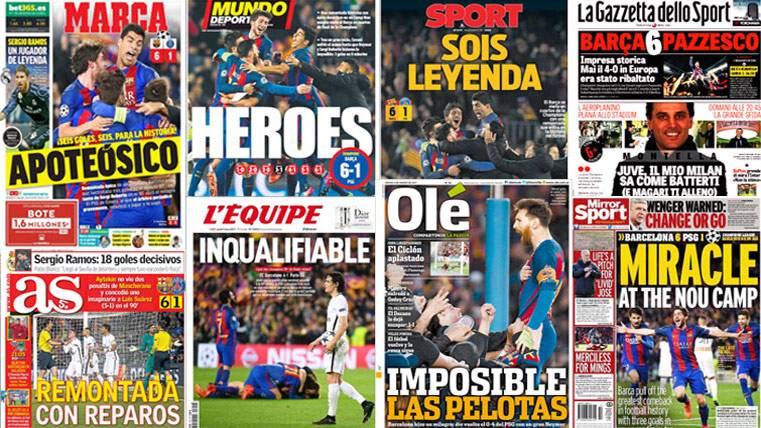 INCALIFICABLE: La prensa mundial, a los pies del Barça tras remontar