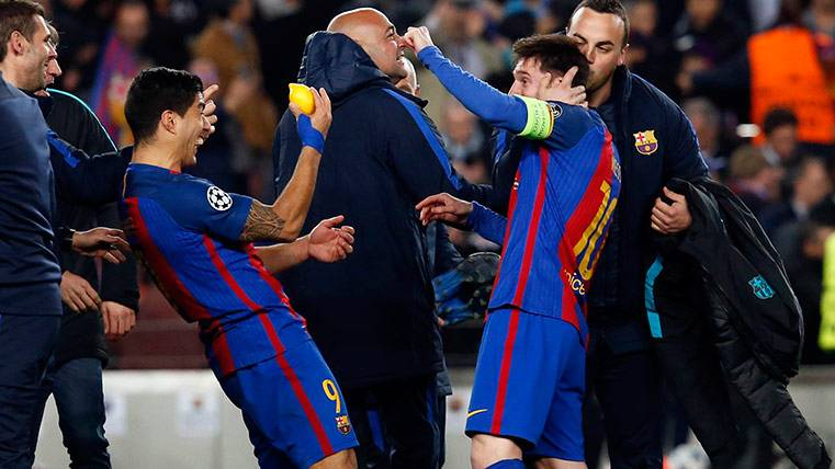 Leo Messi, Luis Suárez y un limón como amuleto del Barça
