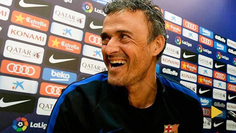 Luis Enrique se ríe en rueda de prensa antes del Barça-Celta