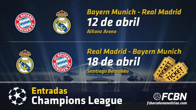 Entradas Real Madrid vs Bayern Munich - Champions League