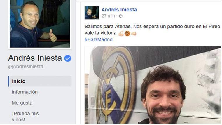 """Surrealista mensaje de Iniesta en Facebook: """"¡Hala Madrid!"""""""