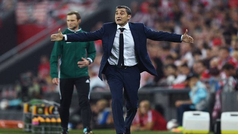 Ernesto Valverde, durante un partido del Athletic de Bilbao