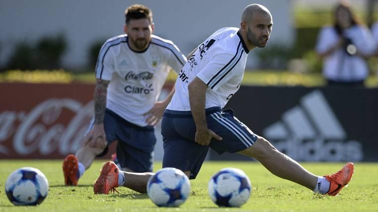 Messi y Mascherano, entrenando con la selección de Argentina