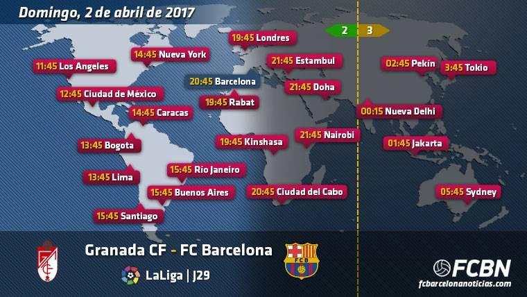 Horarios y TV del Granada vs FC Barcelona de Liga