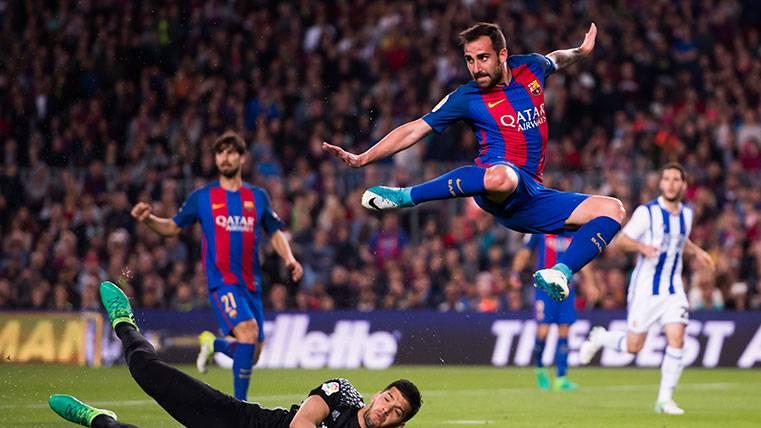 Golazo de Alcácer para certificar su mejor partido con el Barça