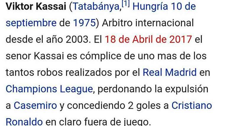 Viktor Kassai, hackeado en Wikipedia tras su actuación en el Madrid-Bayern