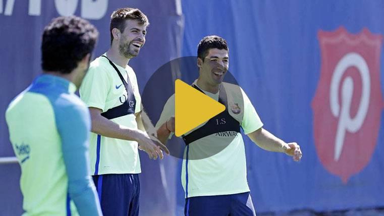 Felicidad en el entreno del Barça tras asaltar el Bernabéu