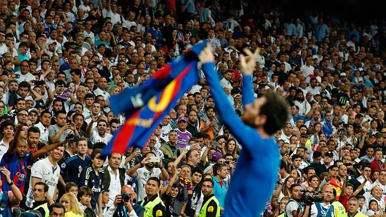 La gran celebraciñon de Leo Messi durante el Clásico frente al Real Madrid