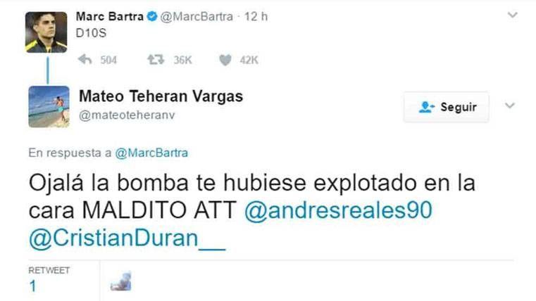 Desean la muerte a Marc Bartra por celebrar la gesta de Messi