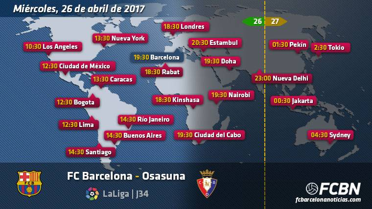 Schedules and TV of the FC Barcelona vs Osasuna of League