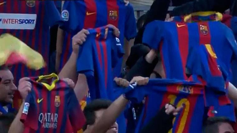 La preciosa dedicatoria del Camp Nou a Messi en el minuto 10