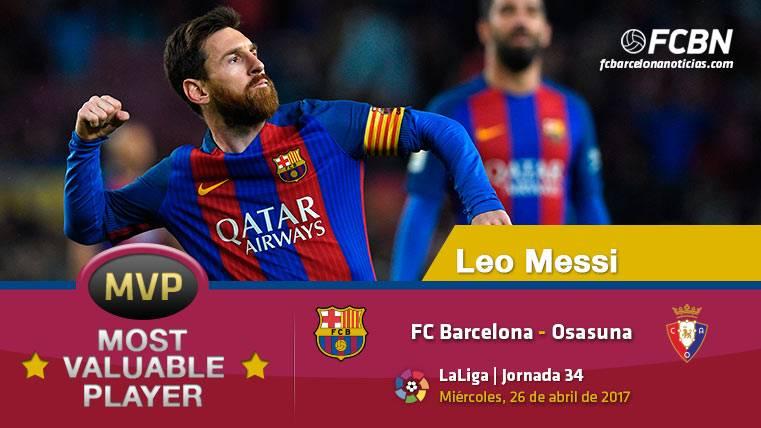 """Leo Messi, el """"MVP"""" del FC Barcelona ante el Osasuna"""