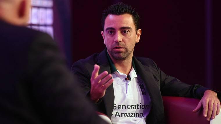 Xavi Hernández, durante una entrevista en Qatar