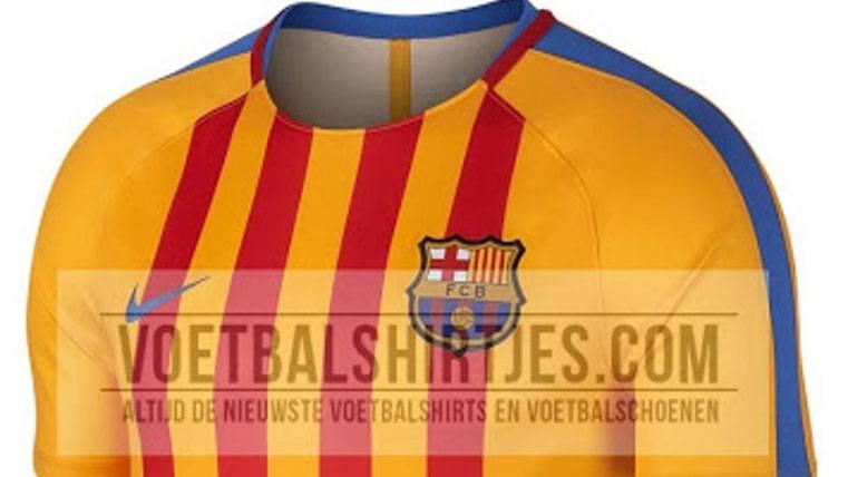 """El diseño de la nueva camiseta del Barça con la """"senyera"""""""