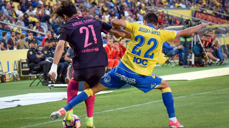 André Gomes volvió a fallar en la jugada del gol de Las Palmas