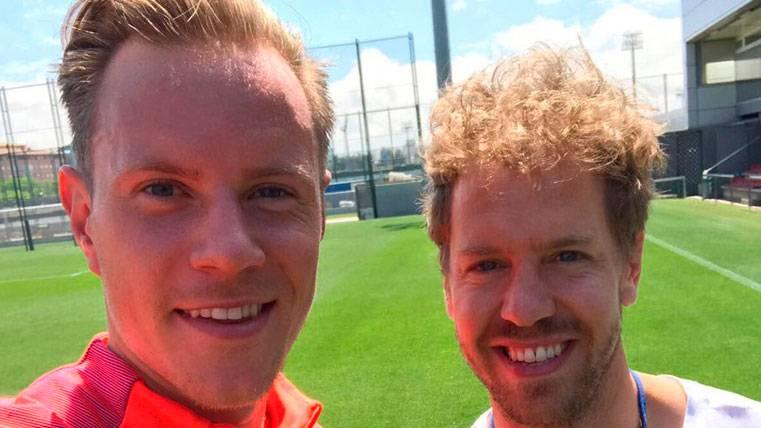 Ter Stegen y Sebastian Vettel, amigos en Barcelona