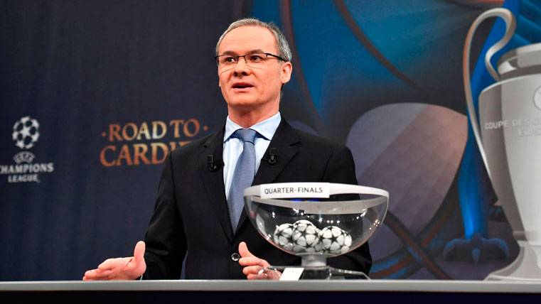 Giorgio Marchetti, durante el sorteo de cuartos de Champions League