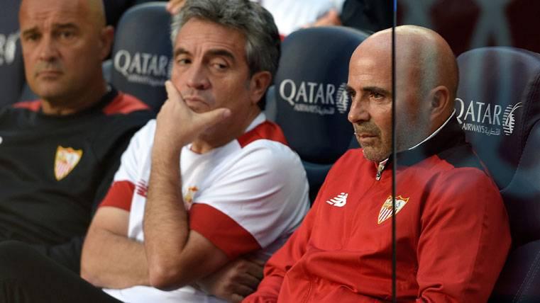Jorge Sampaoli, en el Camp Nou como técnico del Sevilla