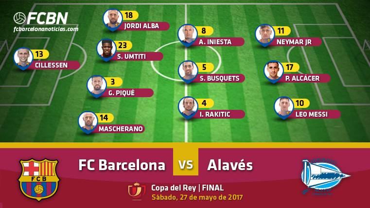 Alineaciones del Barcelona-Alavés (Final de Copa del Rey)