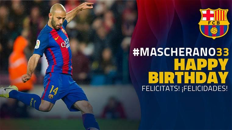 Javier Mascherano cumple años recuperándose con el Barça