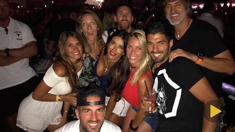 Messi, Cesc, Suárez y familias, de fiesta con David Guetta
