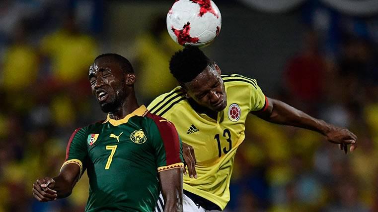 Yerry Mina, en el partido frente a Camerún