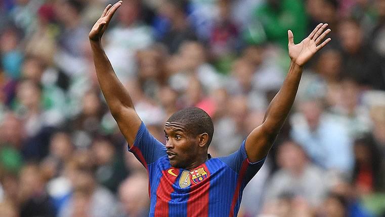 Marlon Santos en un partido de pretemporada con el Barça