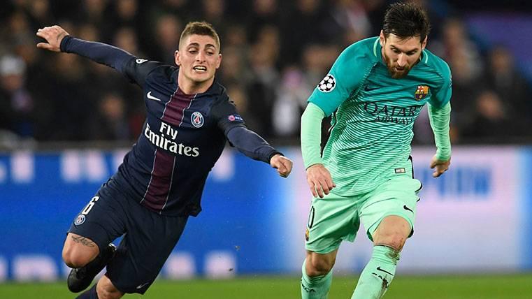 Marco Verratti y Leo Messi en un PSG-Barça de Champions
