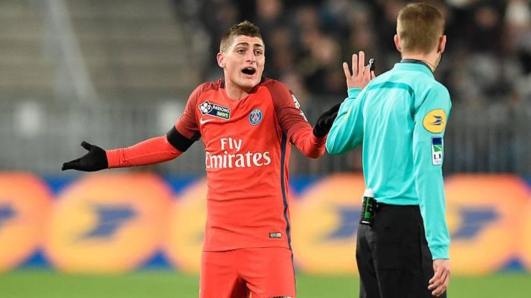Marco Verratti en un partido con el PSG en la Copa de la Liga francesa