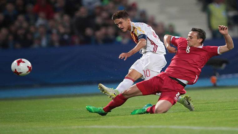Denis Suárez marca el gol del triunfo de España sub-21