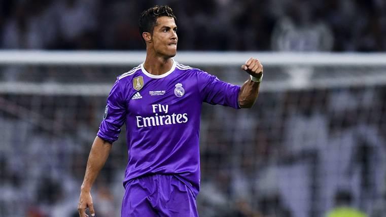 Cristiano Ronaldo, celebrando un gol marcado con el Real Madrid