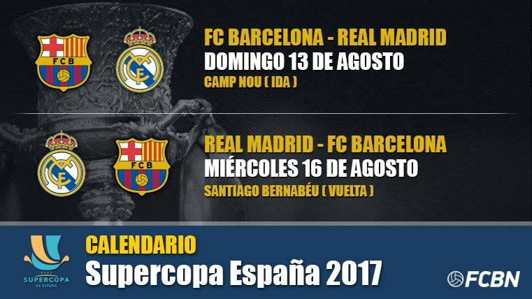 Calendario Supercopa de España 2017: Barcelona-Real Madrid