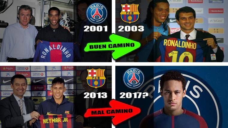 Neymar, fíjate en Ronaldinho: Del PSG al Barça, no a la inversa